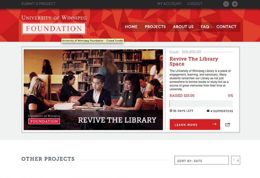 Uwinnipeg Foundation Crowdfunding Site | Hello Websites