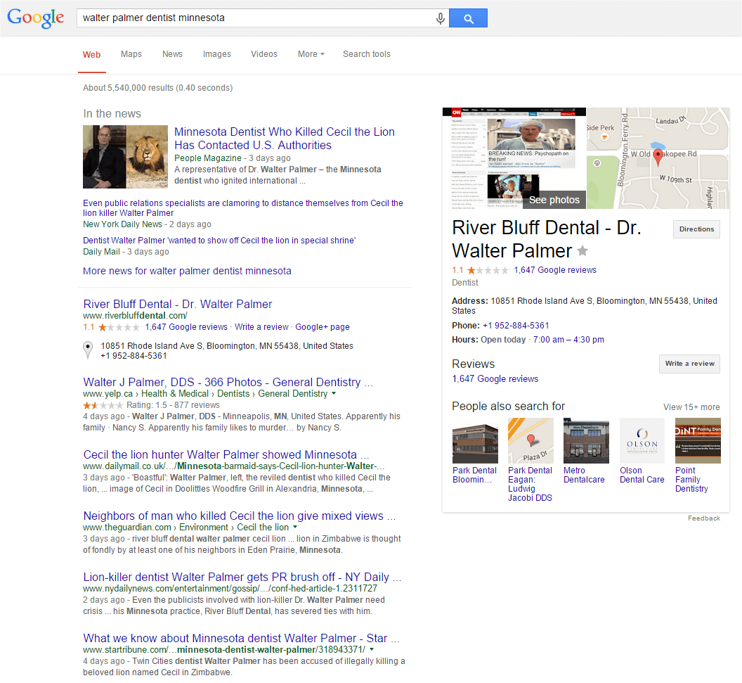Screenshot of Google's Search Engine Results Page, from August 4th 2015, for 'Walter Palmer Dentist Minnesota' - content from above the fold.