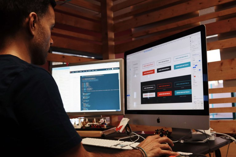 Web Designer working on site