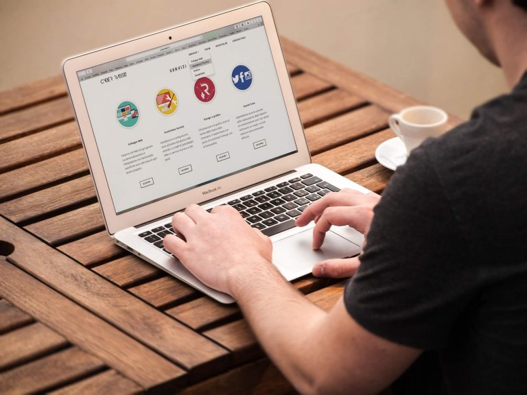 web designer working on a website
