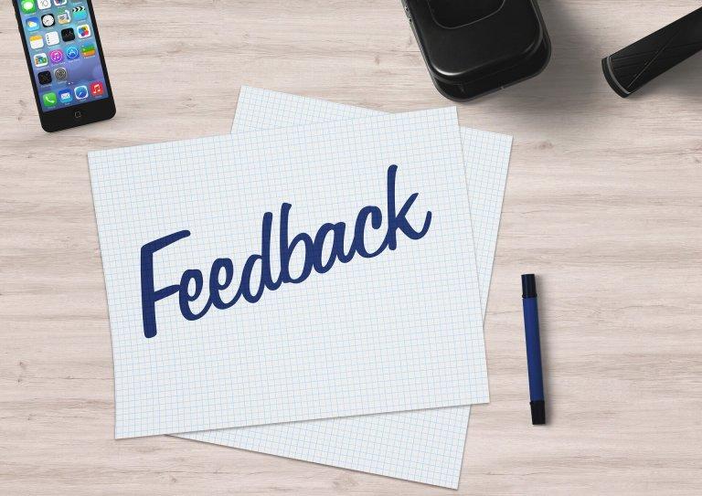 feedback on paper on a desk