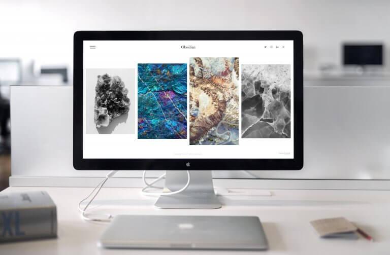 website landing page on a mac
