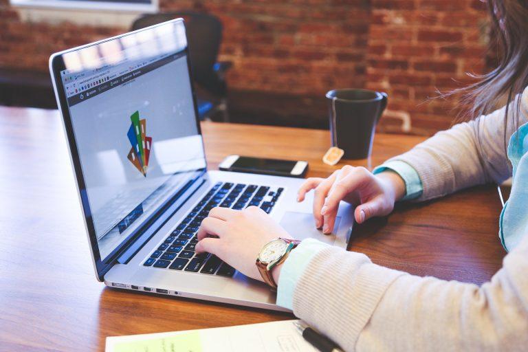 woman designing her website